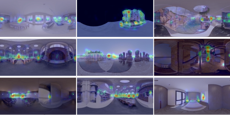 A thumbnail of a paper figure including nine images with heat maps indicating visual saliency in VR.